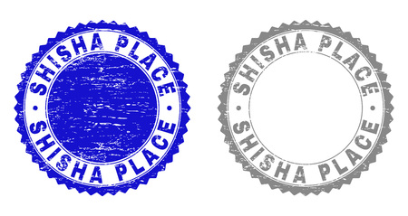 Grunge SHISHA PLACE stamp seals isolated on a white background. Rosette seals with grunge texture in blue and gray colors. Vector rubber stamp imprint of SHISHA PLACE title inside round rosette. Illustration