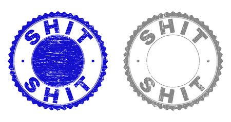 Grunge SHIT stamp seals isolated on a white background. Rosette seals with distress texture in blue and gray colors. Vector rubber stamp imprint of SHIT title inside round rosette. Illustration