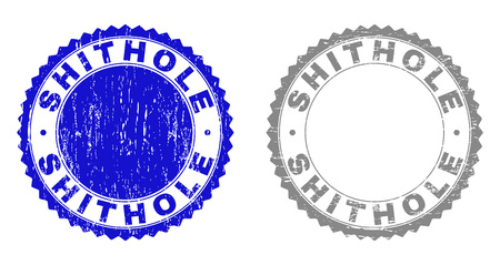 Grunge SHITHOLE stamp seals isolated on a white background. Rosette seals with grunge texture in blue and gray colors. Vector rubber stamp imitation of SHITHOLE tag inside round rosette. Illusztráció