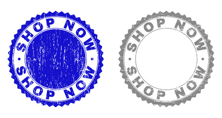 Grunge SHOP NOW stamp seals isolated on a white background. Rosette seals with grunge texture in blue and gray colors. Vector rubber stamp imprint of SHOP NOW tag inside round rosette. Иллюстрация