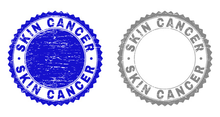 Grunge SKIN CANCER stamp seals isolated on a white background. Rosette seals with grunge texture in blue and gray colors. Vector rubber stamp imitation of SKIN CANCER tag inside round rosette.