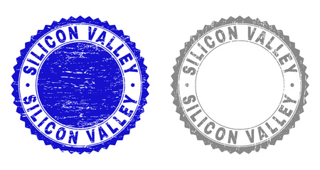 Grunge SILICON VALLEY stamp seals isolated on a white background. Rosette seals with grunge texture in blue and grey colors. Vector rubber watermark of SILICON VALLEY tag inside round rosette.
