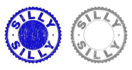 Grunge SILLY stamp seals isolated on a white background. Rosette seals with grunge texture in blue and grey colors. Vector rubber stamp imprint of SILLY tag inside round rosette.