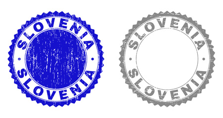 Grunge SLOVENIA stamp seals isolated on a white background. Rosette seals with distress texture in blue and grey colors. Vector rubber stamp imprint of SLOVENIA title inside round rosette.