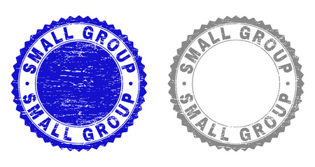 Grunge SMALL GROUP stamp seals isolated on a white background. Rosette seals with grunge texture in blue and gray colors. Vector rubber stamp imitation of SMALL GROUP tag inside round rosette. Vettoriali