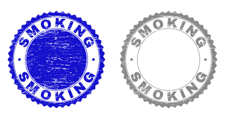 Grunge SMOKING stamp seals isolated on a white background. Rosette seals with grunge texture in blue and gray colors. Vector rubber stamp imprint of SMOKING title inside round rosette.