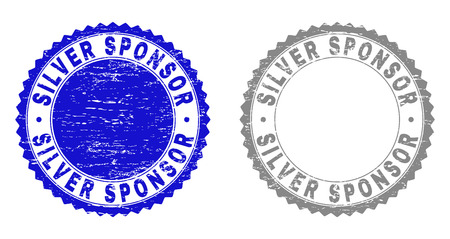 Grunge SILVER SPONSOR stamp seals isolated on a white background. Rosette seals with grunge texture in blue and gray colors. Vector rubber stamp imprint of SILVER SPONSOR text inside round rosette.