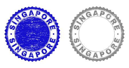 Sellos de sello Grunge Singapur aislados sobre fondo blanco. Sellos de roseta con textura grunge en colores azul y gris. Imitación de sello de goma de vector de texto de Singapur dentro de roseta redonda.