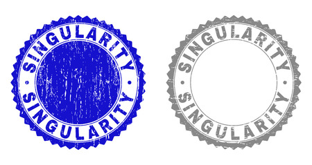 Grunge SINGULARITY stamp seals isolated on a white background. Rosette seals with grunge texture in blue and grey colors. Vector rubber watermark of SINGULARITY text inside round rosette.