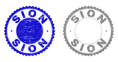 Grunge SION stamp seals isolated on a white background. Rosette seals with grunge texture in blue and grey colors. Vector rubber overlay of SION label inside round rosette.