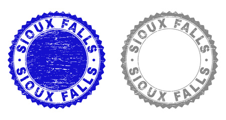 Grunge SIOUX FALLS stamp seals isolated on a white background. Rosette seals with grunge texture in blue and grey colors. Vector rubber stamp imitation of SIOUX FALLS text inside round rosette.