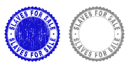 Grunge SLAVES FOR SALE stamp seals isolated on a white background. Rosette seals with grunge texture in blue and grey colors. Vector rubber watermark of SLAVES FOR SALE caption inside round rosette.