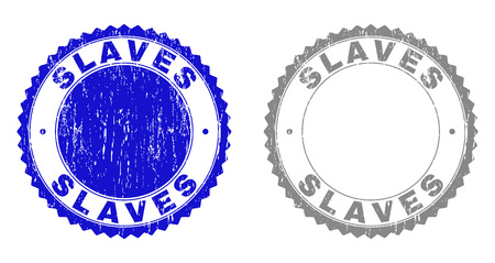 Grunge SLAVES stamp seals isolated on a white background. Rosette seals with distress texture in blue and gray colors. Vector rubber stamp imprint of SLAVES caption inside round rosette.