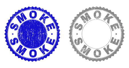 Grunge SMOKE stamp seals isolated on a white background. Rosette seals with grunge texture in blue and grey colors. Vector rubber stamp imprint of SMOKE label inside round rosette. Illustration
