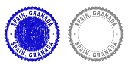 Grunge SPAIN, GRANADA stamps isolated on a white background. Rosette seals with grunge texture in blue and gray colors. Vector rubber stamp imprint of SPAIN, GRANADA title inside round rosette. Иллюстрация
