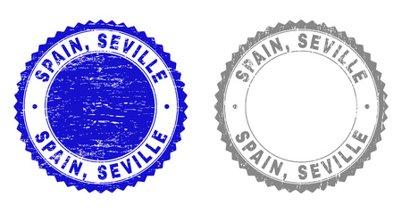 Grunge SPAIN, SEVILLE stamp seals isolated on a white background. Rosette seals with grunge texture in blue and gray colors. Vector rubber stamp imprint of SPAIN, SEVILLE caption inside round rosette.