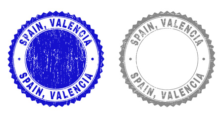 Grunge SPAIN, VALENCIA stamp seals isolated on a white background. Rosette seals with grunge texture in blue and gray colors. Vector rubber stamp imitation of SPAIN, Иллюстрация