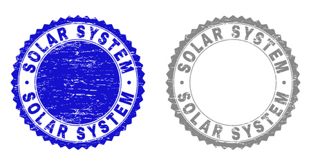 Grunge SOLAR SYSTEM stamp seals isolated on a white background. Rosette seals with grunge texture in blue and grey colors. Vector rubber watermark of SOLAR SYSTEM caption inside round rosette.