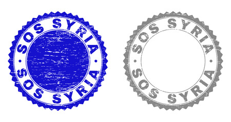 Grunge SOS SYRIA stamp seals isolated on a white background. Rosette seals with grunge texture in blue and gray colors. Vector rubber stamp imprint of SOS SYRIA tag inside round rosette.