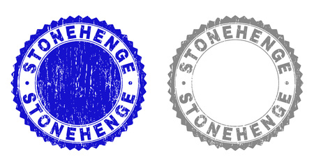 Grunge STONEHENGE stamp seals isolated on a white background. Rosette seals with distress texture in blue and grey colors. Vector rubber watermark of STONEHENGE title inside round rosette.