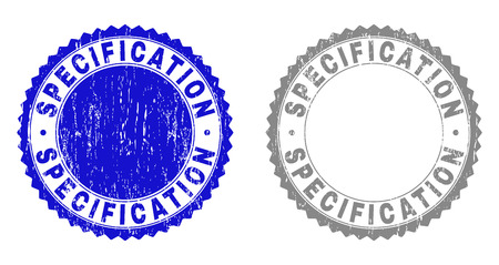Grunge SPECIFICATION stamp seals isolated on a white background. Rosette seals with distress texture in blue and gray colors. Vector rubber overlay of SPECIFICATION tag inside round rosette.
