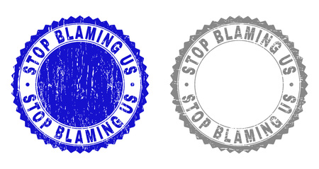 Grunge STOP BLAMING US watermarks isolated on a white background. Rosette seals with grunge texture in blue and grey colors.