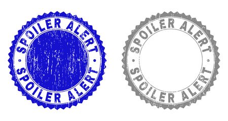 Grunge SPOILER ALERT stamp seals isolated on a white background. Rosette seals with grunge texture in blue and grey colors. Vector rubber stamp imprint of SPOILER ALERT label inside round rosette. Illustration