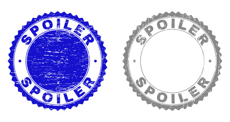 Grunge SPOILER stamp seals isolated on a white background. Rosette seals with distress texture in blue and gray colors. Vector rubber stamp imitation of SPOILER title inside round rosette.