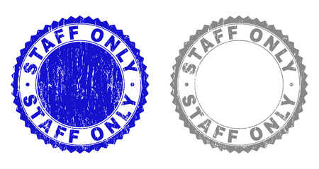 Grunge STAFF ONLY stamp seals isolated on a white background. Rosette seals with grunge texture in blue and grey colors. Vector rubber stamp imitation of STAFF ONLY tag inside round rosette.
