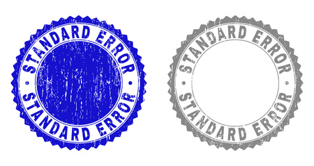 Grunge STANDARD ERROR stamps isolated on a white background. Rosette seals with grunge texture in blue and gray colors. Vector rubber stamp imprint of STANDARD ERROR caption inside round rosette.