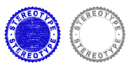 Grunge STEREOTYPE stamp seals isolated on a white background. Rosette seals with grunge texture in blue and gray colors. Vector rubber stamp imprint of STEREOTYPE text inside round rosette.