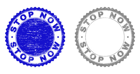 Grunge STOP NOW stamp seals isolated on a white background. Rosette seals with distress texture in blue and gray colors. Vector rubber stamp imprint of STOP NOW text inside round rosette. Illustration