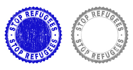 Grunge STOP REFUGEES stamp seals isolated on a white background. Rosette seals with distress texture in blue and gray colors. Vector rubber stamp imprint of STOP REFUGEES title inside round rosette.
