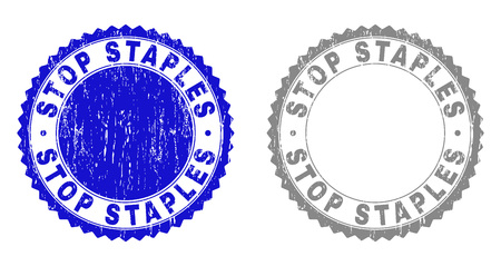 Grunge STOP STAPLES stamp seals isolated on a white background. Rosette seals with distress texture in blue and grey colors. Vector rubber stamp imitation of STOP STAPLES label inside round rosette.