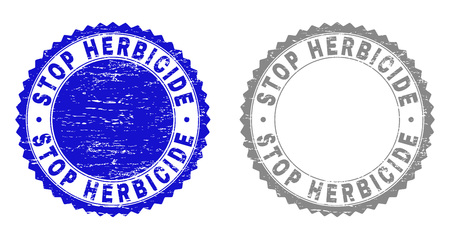 Grunge STOP HERBICIDE stamp seals isolated on a white background. Rosette seals with distress texture in blue and grey colors.