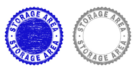 Grunge STORAGE AREA stamp seals isolated on a white background. Rosette seals with grunge texture in blue and grey colors. Vector rubber stamp imprint of STORAGE AREA tag inside round rosette.