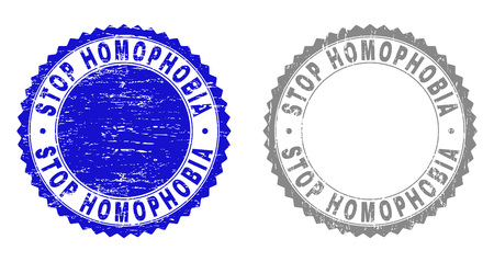 Grunge STOP HOMOPHOBIA stamps isolated on a white background. Rosette seals with grunge texture in blue and gray colors. Vector rubber stamp imitation of STOP HOMOPHOBIA caption inside round rosette.