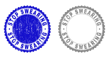 Grunge STOP SWEARING stamp seals isolated on a white background. Rosette seals with distress texture in blue and grey colors. Vector rubber stamp imprint of STOP SWEARING label inside round rosette. Illustration