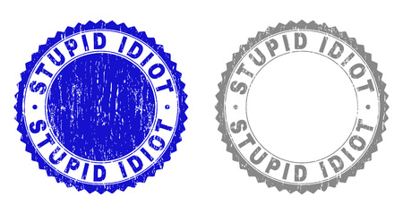 Grunge STUPID IDIOT stamp seals isolated on a white background. Rosette seals with distress texture in blue and gray colors. Vector rubber watermark of STUPID IDIOT text inside round rosette.