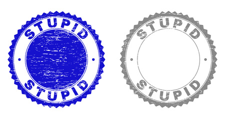 Grunge STUPID stamp seals isolated on a white background. Rosette seals with grunge texture in blue and gray colors. Vector rubber stamp imitation of STUPID text inside round rosette.