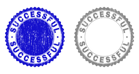 Grunge SUCCESSFUL stamp seals isolated on a white background. Rosette seals with distress texture in blue and gray colors. Vector rubber overlay of SUCCESSFUL text inside round rosette.
