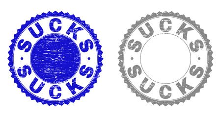 Grunge SUCKS stamp seals isolated on a white background. Rosette seals with grunge texture in blue and grey colors. Vector rubber stamp imitation of SUCKS tag inside round rosette.