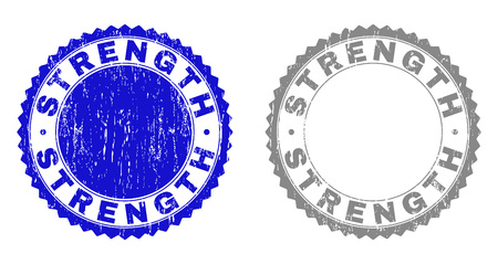Grunge STRENGTH stamp seals isolated on a white background. Rosette seals with grunge texture in blue and gray colors. Vector rubber stamp imprint of STRENGTH caption inside round rosette.