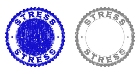 Grunge STRESS stamp seals isolated on a white background. Rosette seals with grunge texture in blue and gray colors. Vector rubber stamp imitation of STRESS title inside round rosette.