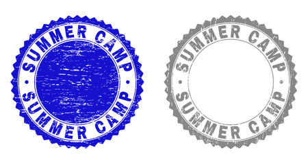 Grunge SUMMER CAMP stamp seals isolated on a white background. Rosette seals with grunge texture in blue and gray colors. Vector rubber stamp imprint of SUMMER CAMP caption inside round rosette.