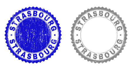 Grunge STRASBOURG stamp seals isolated on a white background. Rosette seals with distress texture in blue and gray colors. Vector rubber stamp imitation of STRASBOURG label inside round rosette. Illustration