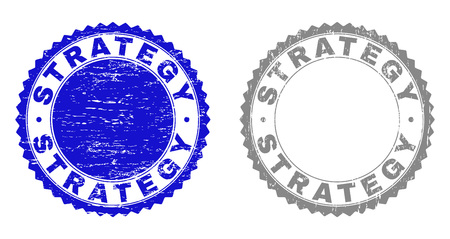 Grunge STRATEGY stamp seals isolated on a white background. Rosette seals with distress texture in blue and grey colors. Vector rubber stamp imprint of STRATEGY caption inside round rosette.