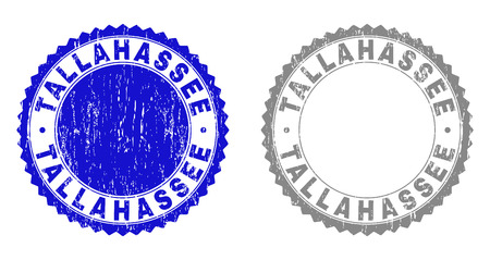 Grunge TALLAHASSEE stamp seals isolated on a white background. Rosette seals with grunge texture in blue and grey colors. Vector rubber watermark of TALLAHASSEE text inside round rosette.