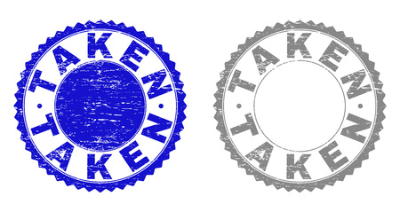 Grunge TAKEN stamp seals isolated on a white background. Rosette seals with grunge texture in blue and grey colors. Vector rubber overlay of TAKEN caption inside round rosette. Illustration