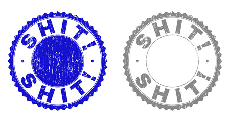 Grunge SHIT! stamp seals isolated on a white background. Rosette seals with grunge texture in blue and gray colors. Vector rubber stamp imitation of SHIT! tag inside round rosette.
